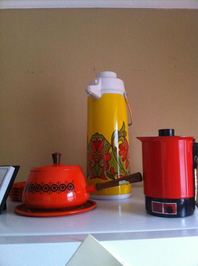 The vintage appliance corner: Fondu pot, coffee thermos, and electric kettle