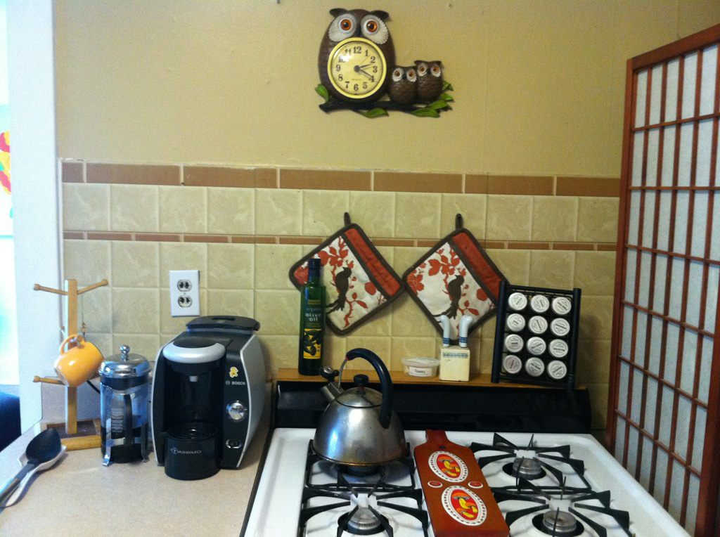 Coffee area and stove