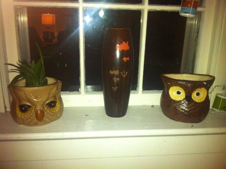 Vintage ceramic owl planters/pots