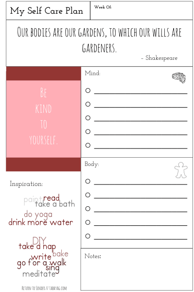 Plan it health section part i self care with free printable return to sender letters to for Self care plan template